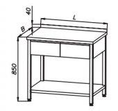 Stół 1100x600x850mm z 2 szufladami i półką, rant z tyłu