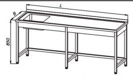 Stół 1900x700x850mm ze zlewem 1komorowym, rant ztyłu