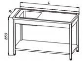 Stół 1200x600x850mm ze zlewem 1-komorowym i półką, rant z tyłu