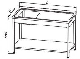 Stół 1200x600x850mm ze zlewem 1-komorowym ipółką, rant ztyłu