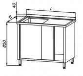Stół 1200x600x850mm ze zlewem 1-komorowym i półką drzwi suwane, rant z tyłu