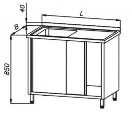 Stół 1400x700x850mm ze zlewem 1-komorowym drzwi suwane