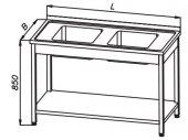 Stół 1400x700x850mm ze zlewem 2-komorowym i półką, rant z tyłu