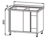 Stół 1200x600x850mm ze zlewem 2-komorowym i szafką drzwi suwane, rant z tyłu