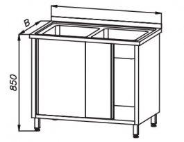 Stół 1200x600x850mm ze zlewem 2-komorowym iszafką drzwi suwane, rant ztyłu