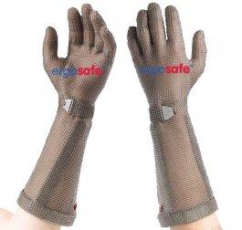 Rękawica ochronna ERGOSAFE, zmankietem 21cm, nierdzewna, oliwkowa, rozmiar 11, size XXL, HE45521