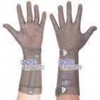 Rękawica ECOMESH z mankietem 15cm, nierdzewna, 5 palcowa, zielona, rozmiar 6, size XS, HEM5015 FM