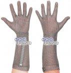 Rękawica ECOMESH z mankietem 19cm, nierdzewna, 5 palcowa, czerwona, rozmiar 8, size M, HEM5219 FM