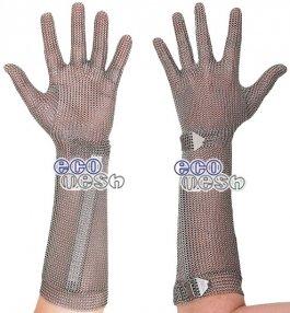 Rękawica ECOMESH zmankietem 21cm, nierdzewna, 5palcowa, czerwona, rozmiar 8, size M, HEM5221 FM