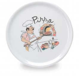 Talerz do pizzy PEGASUS, porcelanowy, średnica 30,5cm, wysokość 2cm, biały, zdobiony, EXXENT 30003