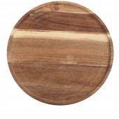 Deska z drewna akacjowego do serwowania, okrągła, średnica 33 cm, grubość 1,8 cm, EXXENT 68403