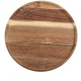 Deska zdrewna akacjowego do serwowania, okrągła, średnica 33 cm, grubość 1,8 cm, EXXENT 31129