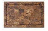 Deska z drewna tekowego do krojenia, z wydrążonymi uchwytami, wymiary 33x21x2,5 cm, XANTIA 78566