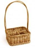 Koszyk wiklinowy na przyprawy z uchwytem, wymiary 18x18cm, wysokość 28cm, XANTIA 89006