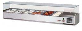 Nadstawka, witryna chłodnicza zszybą, pojemność 7xGN 1/3, nierdzewna, NCH-3160