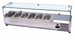 Witryna chłodnicza zszybą, pojemność 7xGN 1/4, nadstawka ze stali nierdzewnej, NCH-4160