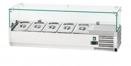 Nadstawka chłodnicza 5x GN 1/4, ze stali nierdzewnej zhartowaną szybą, nadstawka 844540, 844540