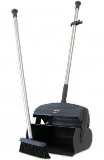 Zestaw do sprzątania, szczotka / miotła zszufelką, zzasobnikiem, szary, 1050 mm, VIKAN 559618