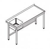 Stół ze zlewem ze stali nierdzewnej do zastosowań w placówkach gastronomicznych i zakładach przetwórstwa spożywczego.
