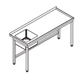 Stół 1600x600x850mm ze zlewem 1-komorowym, rant ztyłu