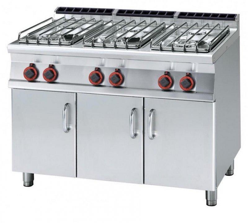 Kuchnie gazowe  Kuchnia gazowa z szafką otwartą, 6 palnikowa, moc 35kW, PC 7   -> Kuchnia Gazowa Moc